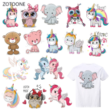 ZOTOONE Stripes Patches Set Iron on Transfer Unicorn Cat Dog for T-shirts Girl Kid Clothing DIY Heat Stickers G