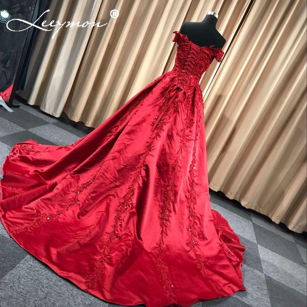 Rode satijnen avondjurk 2018 lange applique kralen vrouwen avond - Jurken voor bijzondere gelegenheden - Foto 4