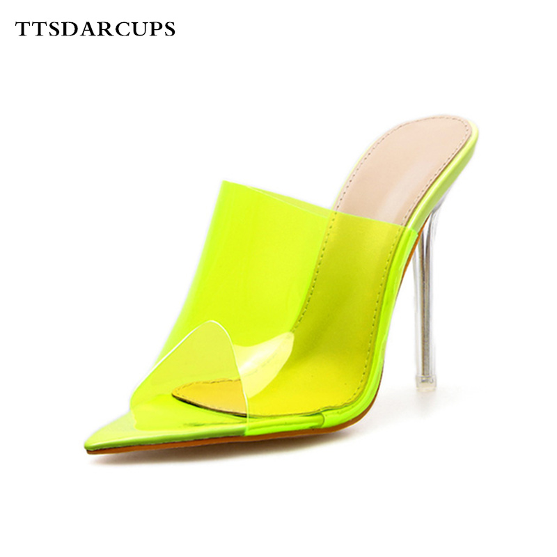 TTSDARCUPS New style sandals with high heels One-character woman Fine-heeled high-heeled slippers summer Plus Size 35-40