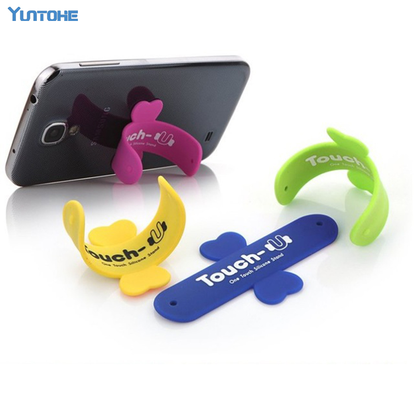 Wholesale 300Pcs lot Phone Holder Portable One Touch U Silicone Stand Holder Cellphone Coche Mounts Phone