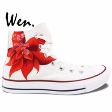 Wen Red Anime Hand Painted Shoes Black Butler Grell Sutcliff Men Women s Sneakers High Top