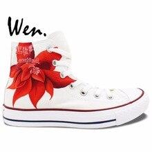 Вэнь Красный Аниме Ручной Росписью Обувь Black Butler Грелль Сатклифф Мужчины Женщины Кроссовки Высокого Верха Обуви Холст
