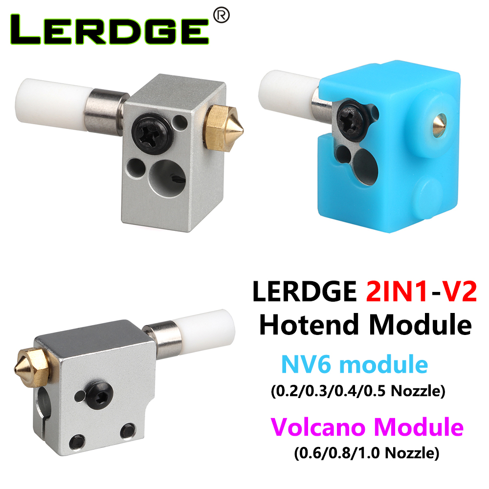 LERDG 2IN1-V2 Hotend Module Volcano Heating Block With Silicone Sock Throat NV6 Nozzle Kit 0.2-1.0/1.75mm 3D Printer Accessories
