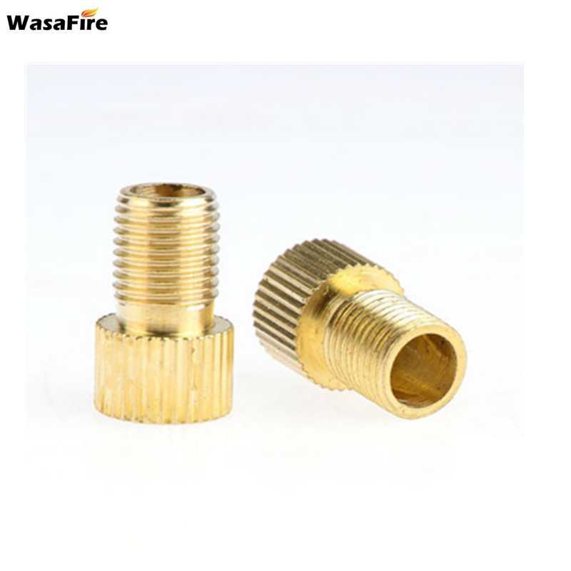 Wasafire 2pcs Pump Bicycle Convert Presta to Schrader Copper Bike air Valve Adaptor adapters wheels gas nozzle Tube Tool