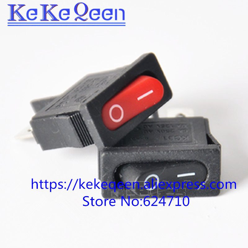 10PCSLOT  KCD1-110 10x22mm Black Red Ultrathin Rocker Switch Small Instrument Power Switch 6A 250V 10A 125VAC Free shipping