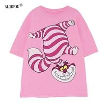 Alice In Wonderland Pink T-Shirt Women Zaraing Fashion Casua