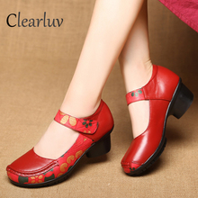 Spring features ethnic style mother shoes fashion retro leather womens high heels new ladies single  C0677