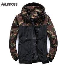 AILEEKISS Spring Autumn Mens Jackets M-6XL Plus Size Boy Jacket Camouflage Military Hooded Coats Casual Male Windbreaker XT784