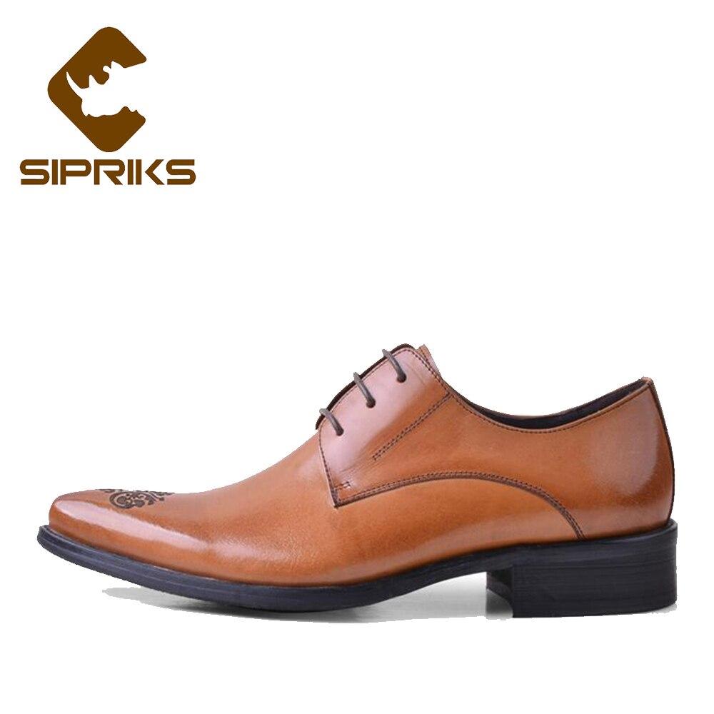 SIPRIKS luxe hommes pleine fleur en cuir chaussures tan cuir robe chaussures bout pointu derby chaussures d'affaires bureau travail appartements nouveau - 2
