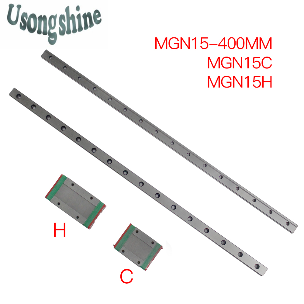 15mm for Linear Guide MGN15 400mm for linear rail way or MGN15C or MGN15H for Long linear carriage for CNC X Y Z Axis 3pcs mgn15 400mm linear rail 3pcs mgn15h long type carriage