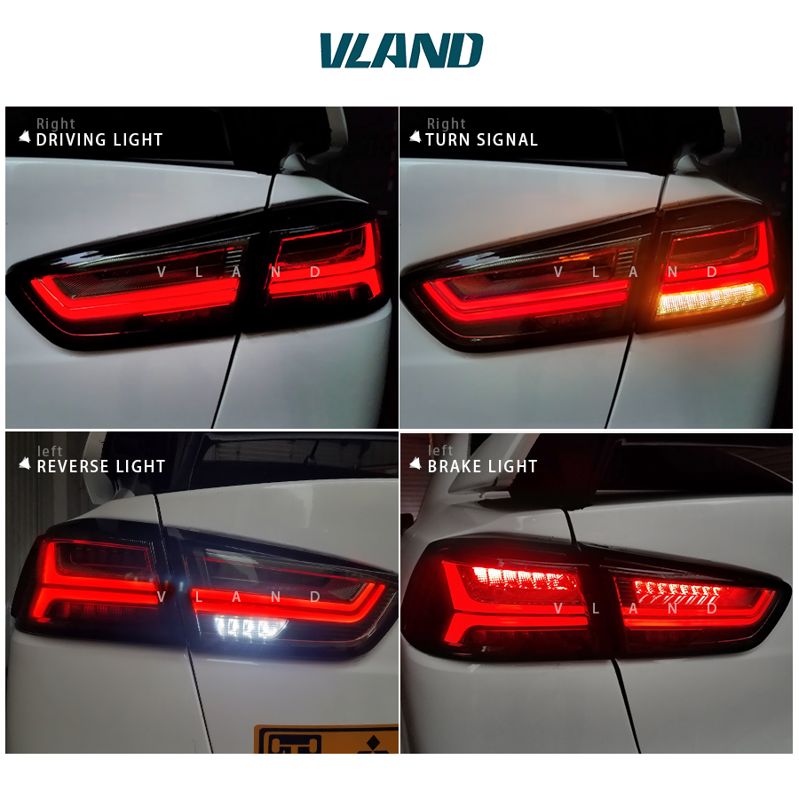 Free shipping China VLAND Car led tail lamp For 2008 2015 Mitsubishi Lancer A6L style Taillight With led Moving Signal light free shipping vland factory car parts for camry led taillight 2006 2007 2008 2011 plug and play car led taill lights