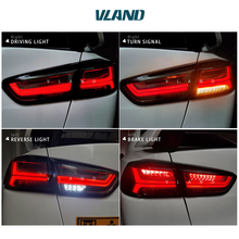 Free shipping China VLAND Car led tail lamp For 2008 2015 Mitsubishi Lancer A6L style Taillight With led Moving Signal light