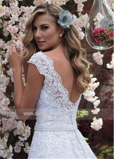 Graceful Tulle & Lace V-neck Neckline A-line Wedding Dress With Lace Appliques & Beadings Sash Bridal Dress vestido de casamento 2