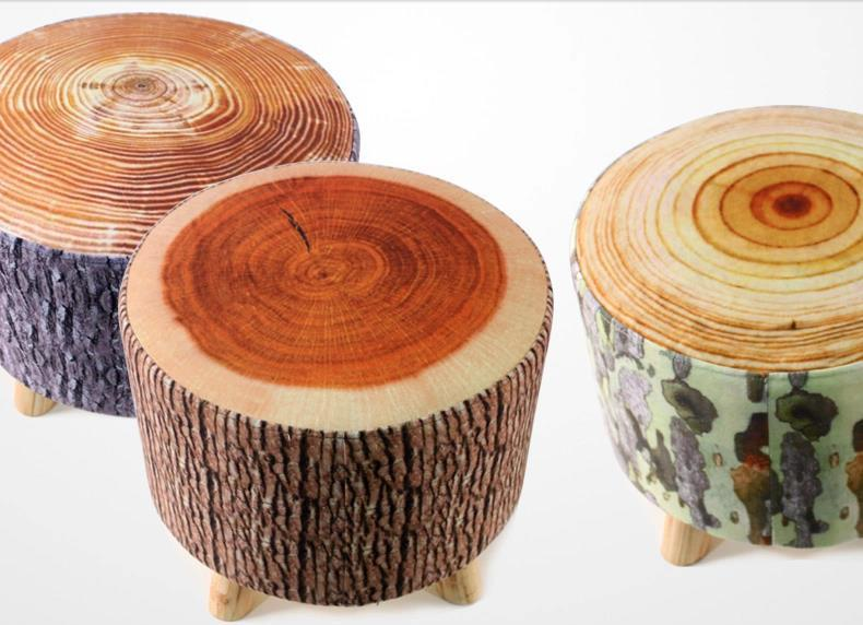 Creative wood stool,3D Flannelette small sofa,wood bar stool,Pastoral  leisure footstool,living room furniture,wood circle sofa-in Stools &  Ottomans from ...