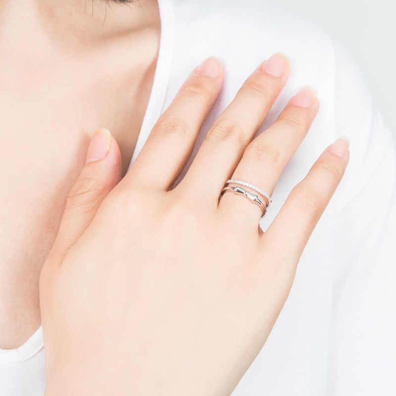 SA SILVERAGE Xác Thực 925 Sterling Bướm Bạc cho Nữ, Nhẫn Nữ Bạc 925 Nhẫn Đôi Nhẫn Cặp AAA Zirconia Nhẫn Cưới