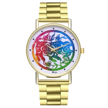 Reloj mujer Colorful Women's Bracelet Tungsten Steel Watch Flower Printed Quartz Wrist Watches Business Relogio Masculino