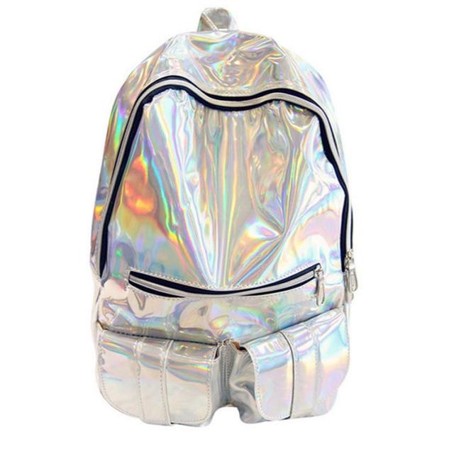Женщины рюкзак серебро голограмма рюкзак лазерная back pack мужская кожаная сумка голографическая sac dos рюкзак mochila masculina