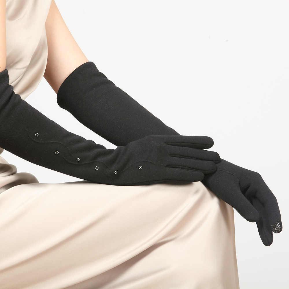女性該当しないダウンベルベット手袋カフ女性ロング冬 5 本の指手袋ニット厚く暖かいアームスリーブ BL023N1