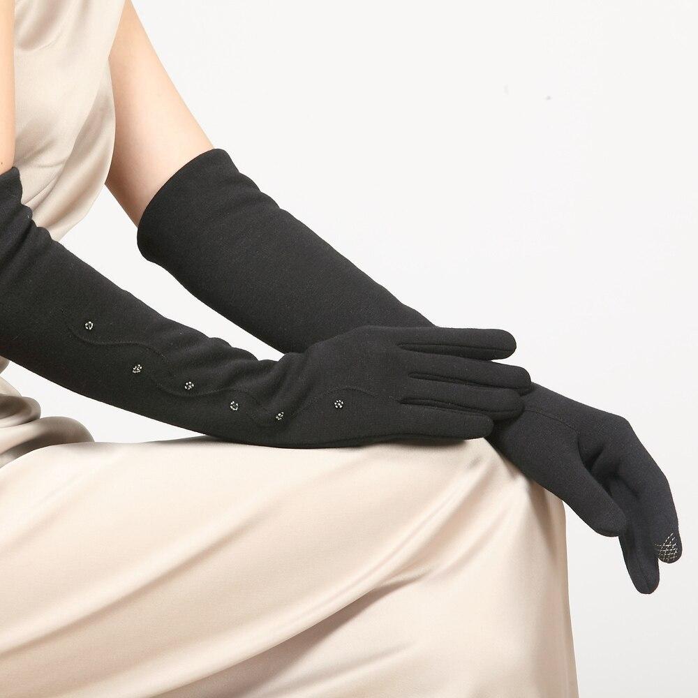 As mulheres Não Cair Luvas De Veludo Feminino Manguito Braço Manga Longa Inverno Cinco Dedos Luvas de Malha Grossa Quente BL023N1