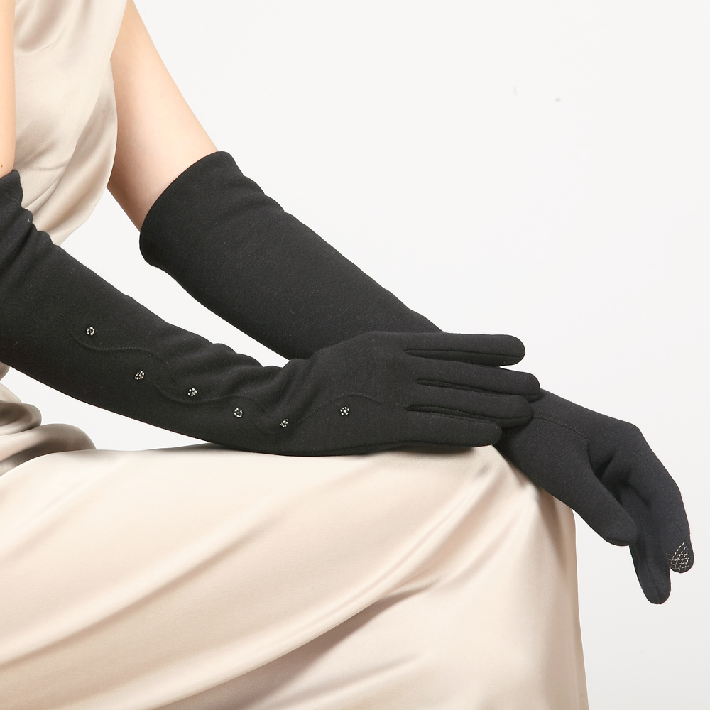 Women Do Not Fall Down Velvet Gloves Cuff Female Long Winter Five Fingers Gloves Knitted Thick Warm Arm Sleeve BL023N1