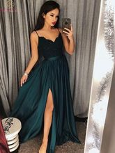 Hunter Green Evening Dresses 2019 A Line Sleeveless Spaghetti Strap Robe De Soiree V Neck Long Femme Lace Prom Gowns