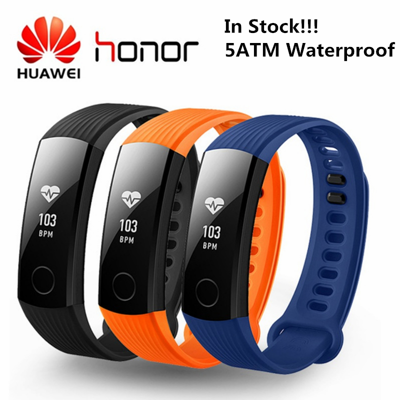 HUAWEI Honor Band 3 Smartband Heart Rate Monitor Calories Consumption Pedometer 50 Meters Waterproof Smart Band Health Tracker