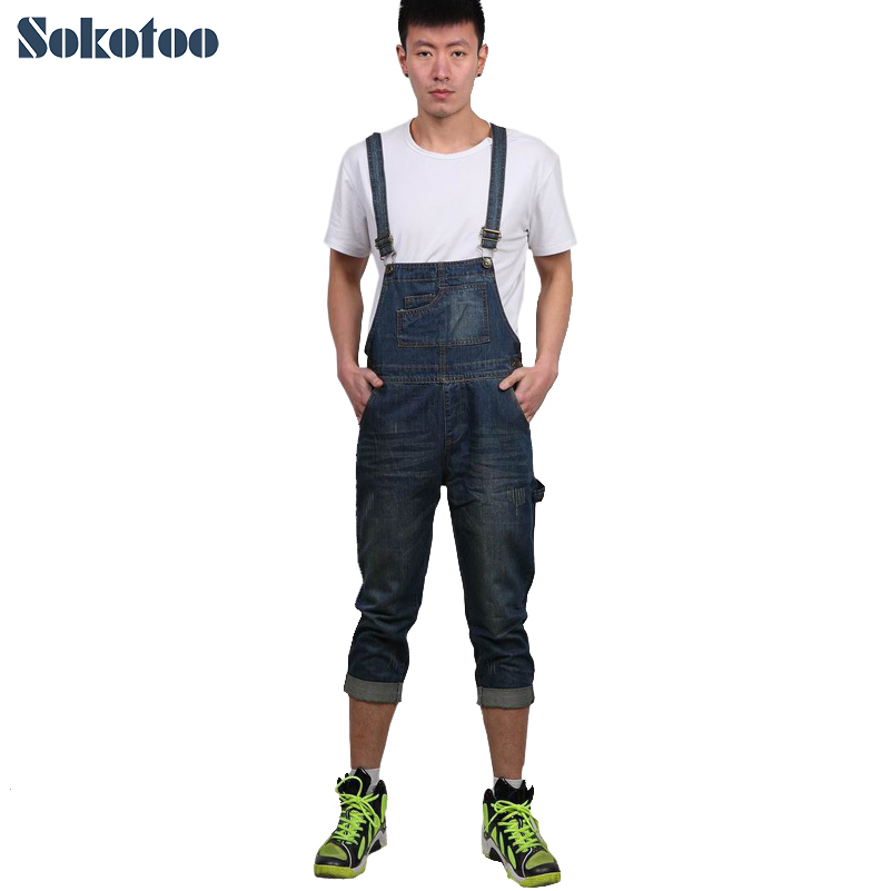 цены  Sokotoo Men's casual calf length denim bib overalls Male Capri Jeans for man Pants Jumpsuits Free shipping
