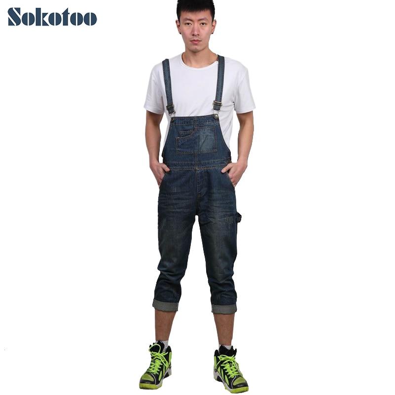 цены  Sokotoo Men's casual calf length denim bib overalls Male Capri Jeans for man Pants Jumpsuits Free shipping