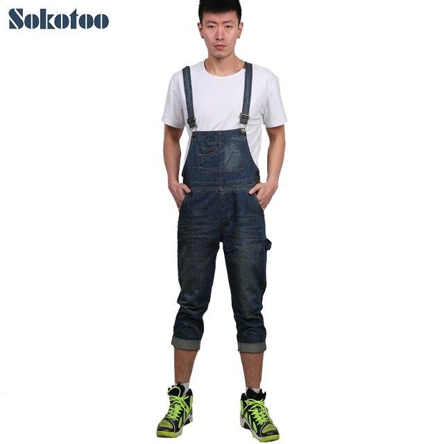 bcc9aff50 Sokotoo comprimento bezerro ocasional dos homens denim jardineira Masculino Capri  Jeans para homem Calças Macacões Frete