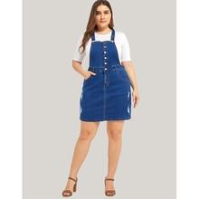Plus Size Women Dress Overalls Casual Ladies Ripped Denim Dresses Fashion Loose Suspender Female Streetwear 5XL H40