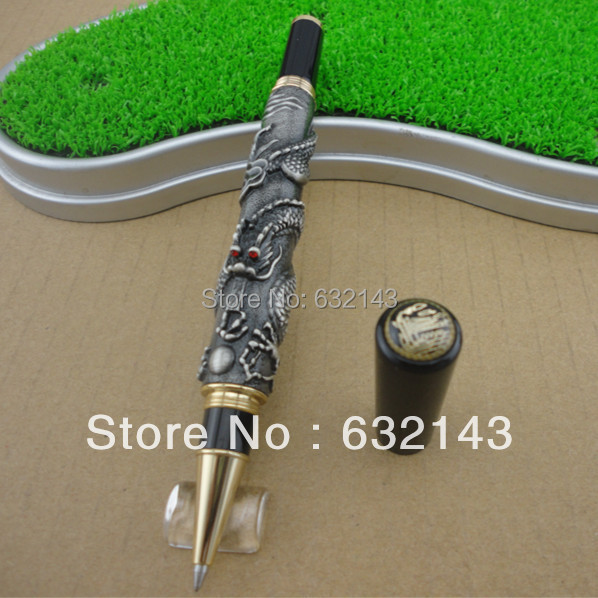 JINHAO 41 GREY ROLLER BALL PEN WITH DRAGON EMBOSSMENT CRYSTAL jinhao ancient dragon playing pearl roller ball pen with jewelry on top with original box free shipping