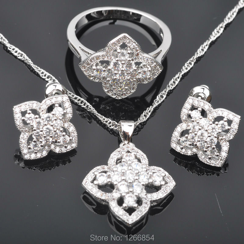 Charming White Cubic Zirconia For Women Silver Plated Jewelry Sets Pendant/Necklace Chain/Ring/Earrings Christmas Gifts  JS0195