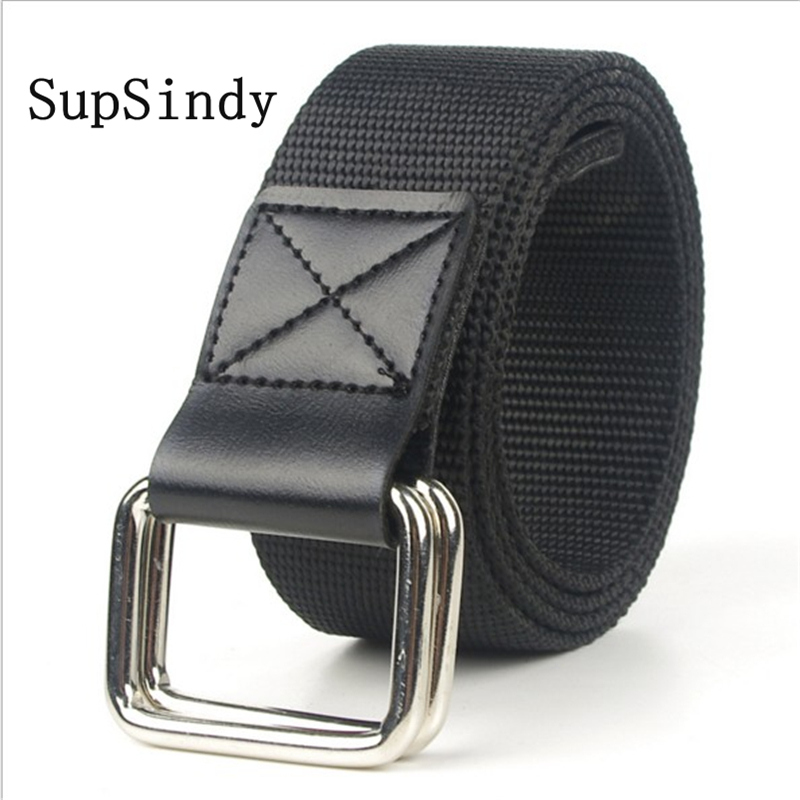 SupSindy Fashion Casual Men Belt Alloy Double Ring Buckle PU Canvas Nylon Belt Luxury Designer Jeans For Women Belts Top Quality
