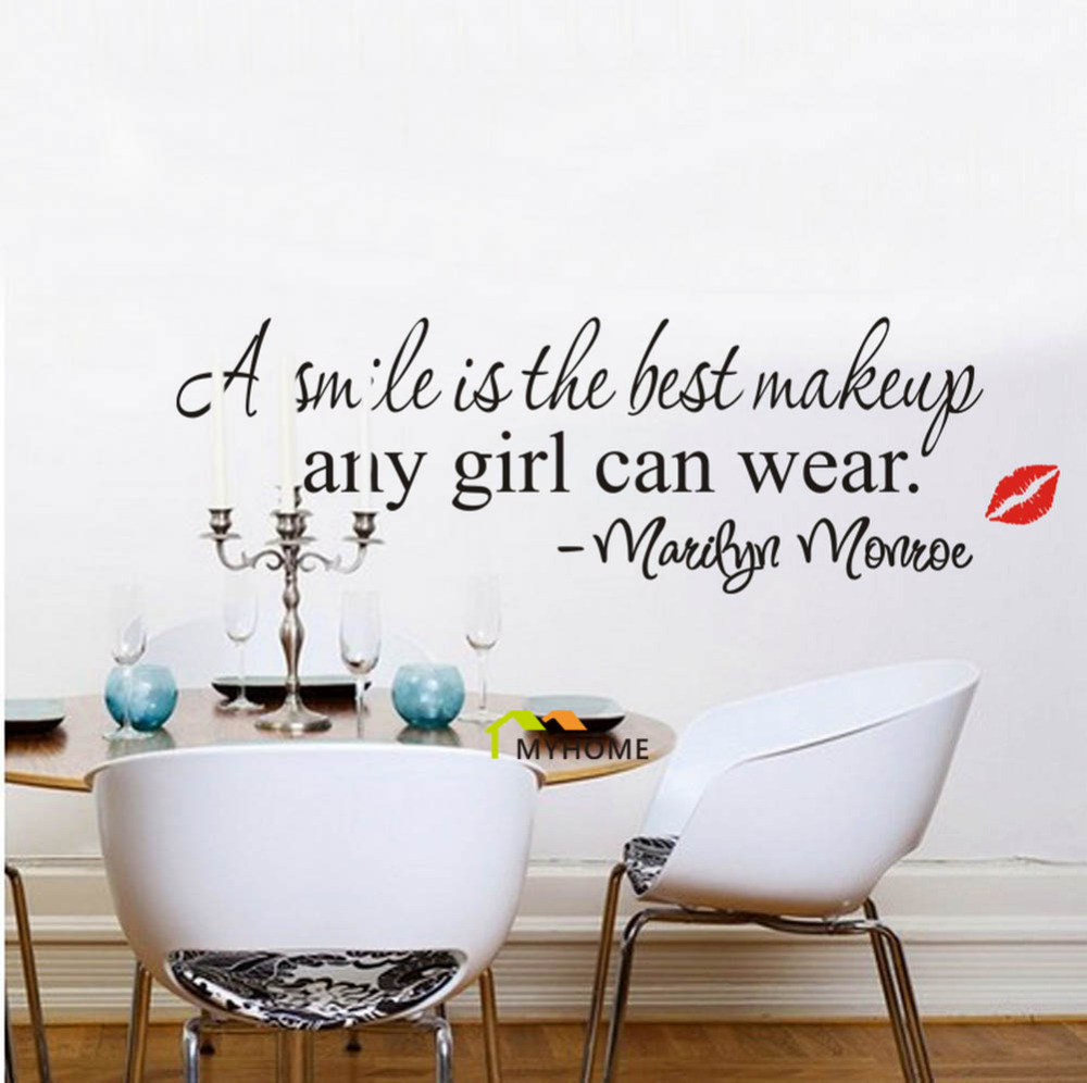 Marilyn monroe quote a smile is the best makeup removable wall marilyn monroe quote a smile is the best makeup removable wall decals vinyl stickers for bedroom living room home decor in wall stickers from home garden amipublicfo Gallery