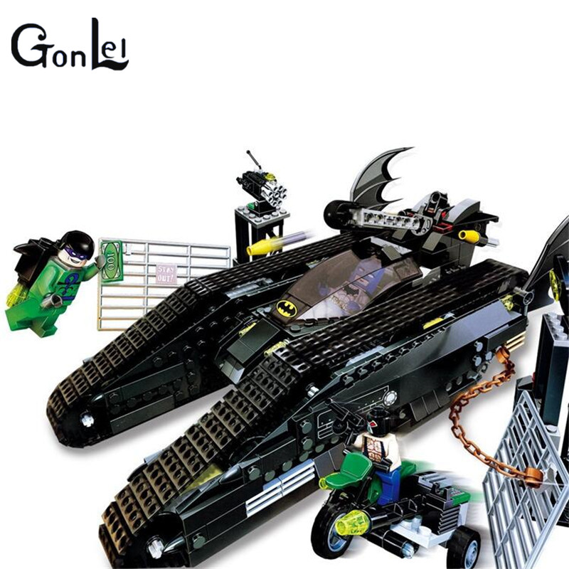 (GonLeI)07067 Batman The Bat Tank The Riddler and Banes Hideout Block Set Compatible with 7787 Toy 673Pcs