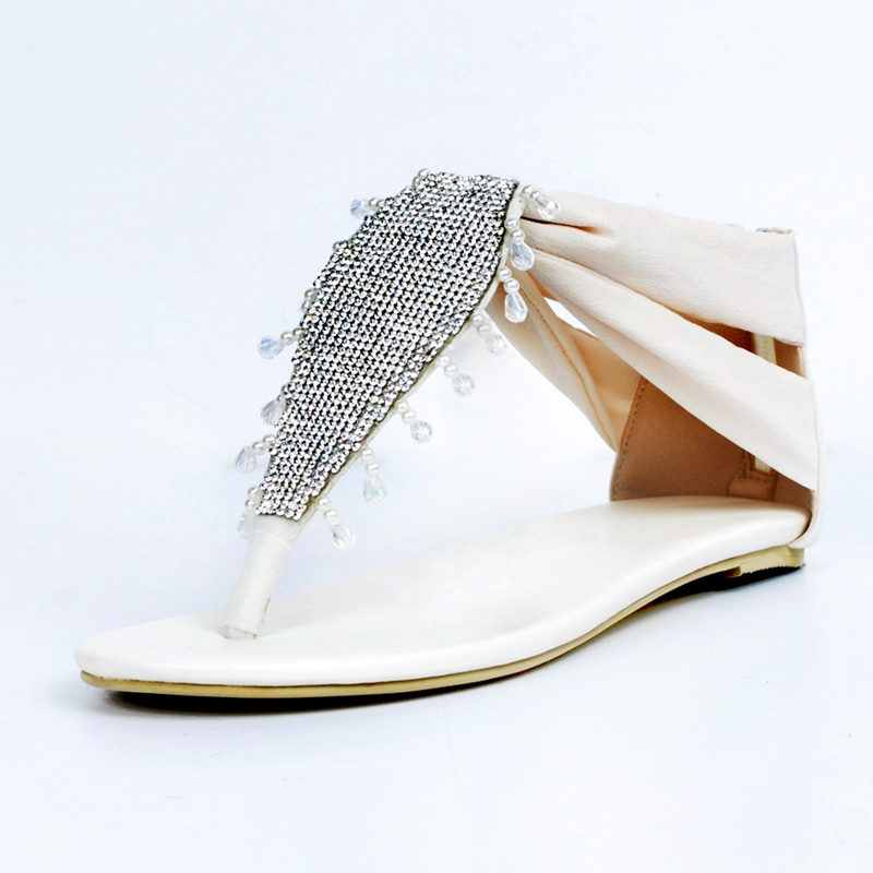 ФОТО Ivory Flat Heel Women Sandals Flip Flops Summer Shoes Women Beadings Crystals Designer Shoes Women Luxury 2017 Flat Sandals