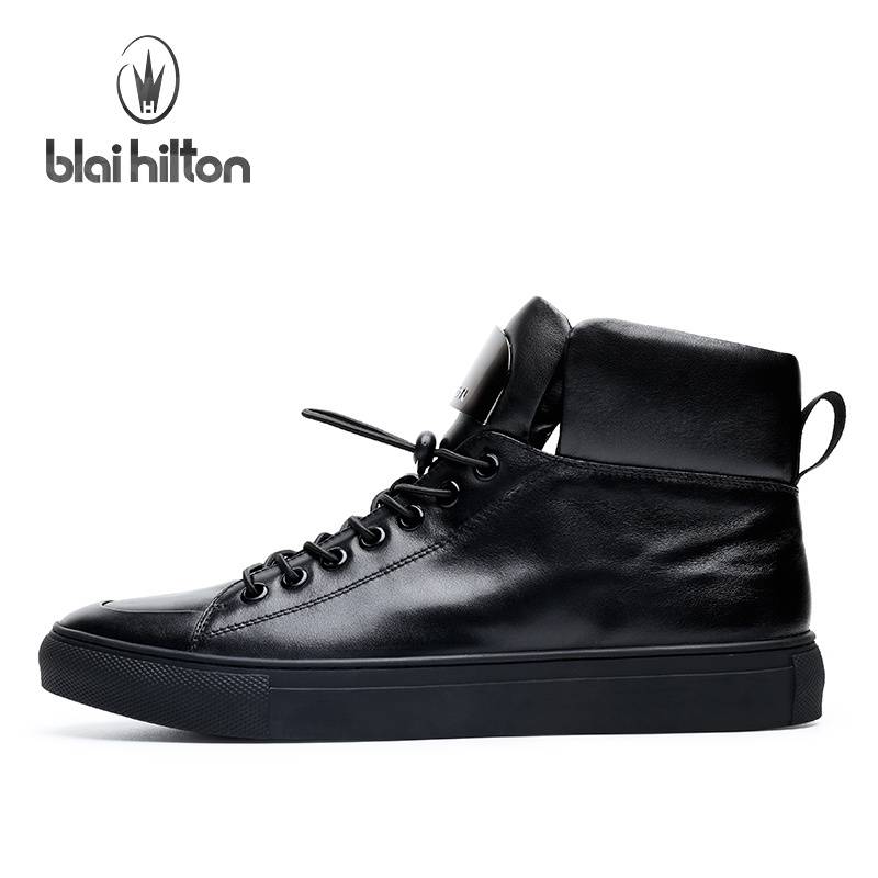 Blai Hilton 2017 Fashion men shoes Genuine Leather shoes Breathable/Comfortable Black Men's Casual Shoes-in Oxfords from Shoes    2