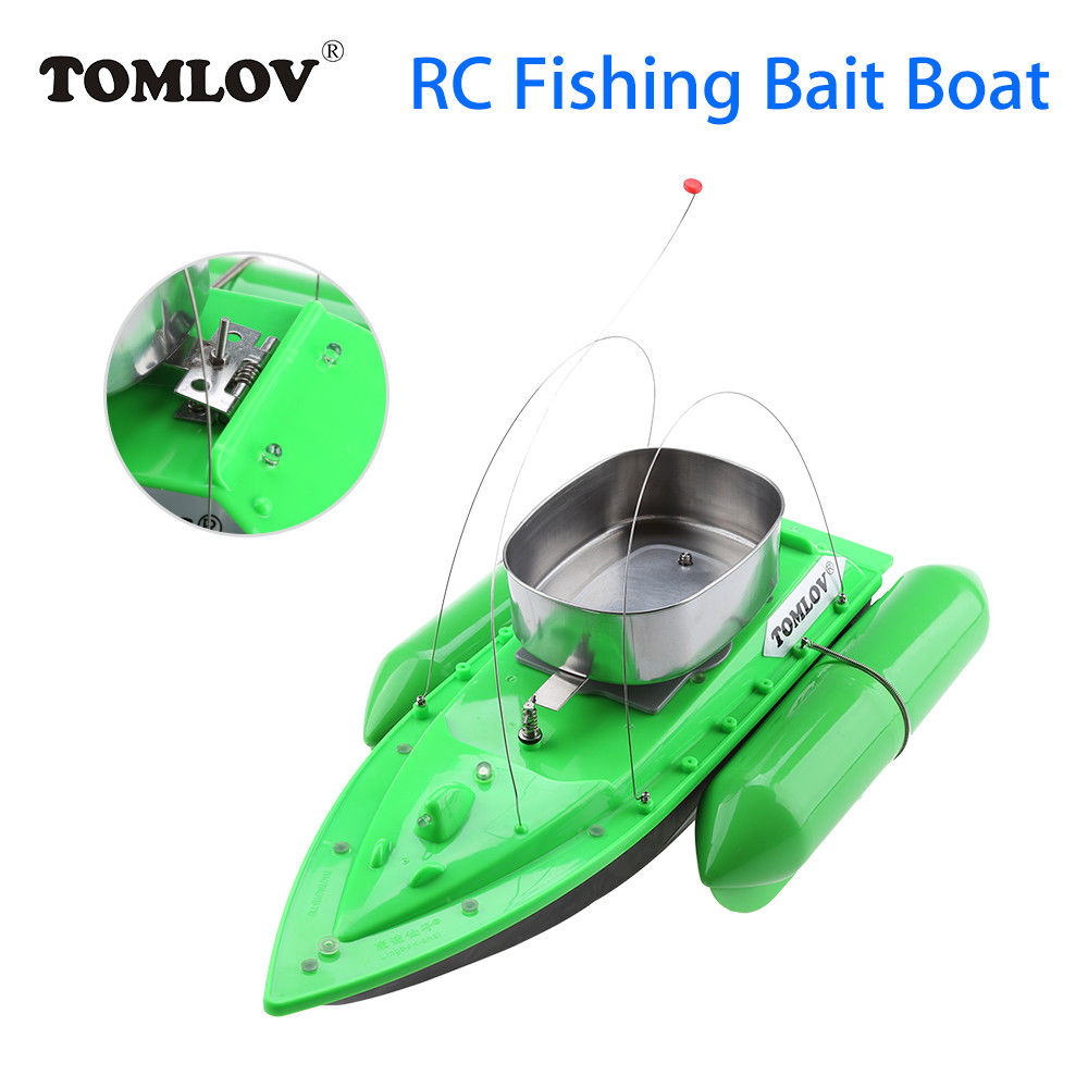 TOMLOV T10 Electric RC Fishing Bait Boat Lure Carp Carrier Green 300M Remote Control LED Light W/6400mAh Battery For Fish Finder mini fast electric fishing bait boat 300m remote control 500g lure fish finder feeder boat usb rechargeable 8hours 9600mah