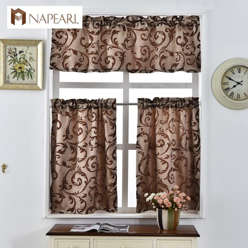 Jacquard Short Kitchen Door Curtains Shade Short Window Treatments Modern  Door Thick Curtain Panel Brown Rod