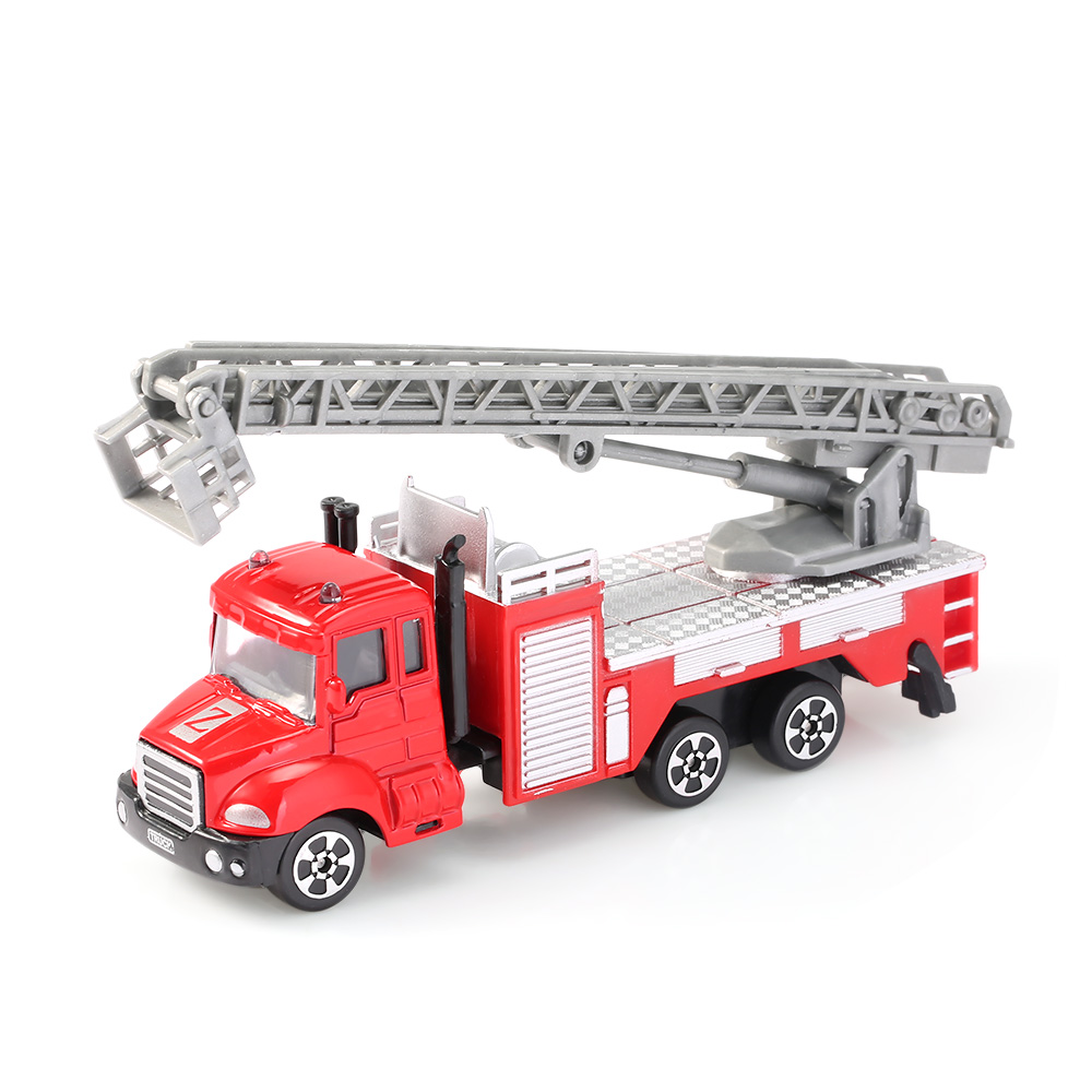 Children Alloy 1:64 Scale Aerial Ladder Truck Emulation Model Toy Present Metal Mini Fire Ladder Car Diecast Kids Birthday Gift