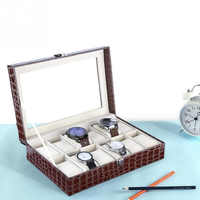 12 Slots Grid PU Leather Watch Display Box Jewelry Storage Organizer Case Locked Boxes saat kutusu caixa para relogio