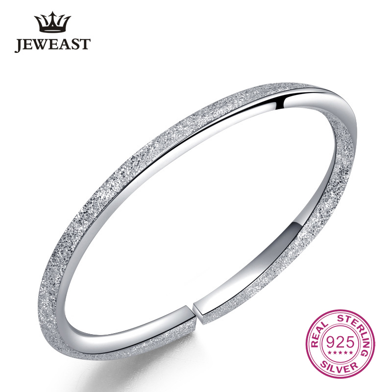 999 Sterling Silver Bangle Frosted Many Stars Shape Bracelet Opened Solid For Women Hot Selling Jewelry Gift Party Round Trendy trendy letter heart round rhinestone bracelet for women