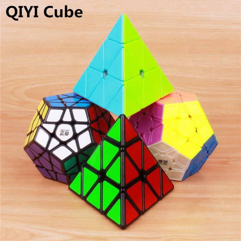 Qiyi megaminxeds magic speed cube stickerless pyramidcube professional puzzle mirror cube educational toys for children qiyi mofangge pentacle cube strange shape magic cube black stickerless speed cube puzzle star twist cubes toys for children kids