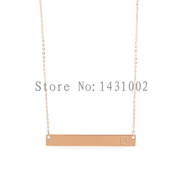 Vinnie Design Jewelry Stainless Steel Horizontal Bar Pendant with 40cm Rose Gold Rolo Chain Necklaces Initial Letter Necklace