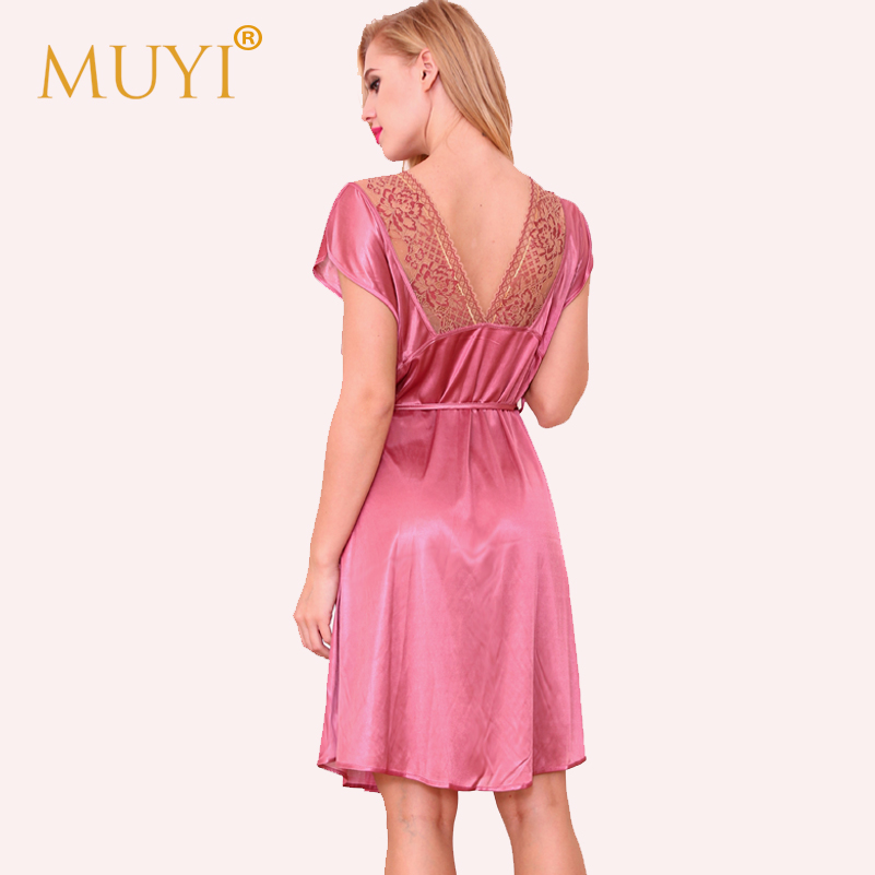 8bfb2b8d65 Women Night Dress Sleepwear Lace Nightgowns Nightshirts Sexy Babydoll  Nightwear Short Sleeve Nuisette Femme Sexy Dressing Gown-in Nightgowns    Sleepshirts ...