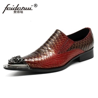 Plus Size New Vintage Pointed Toe Slip On Man Party Loafers Genuine Leather Alligator Handmade Men
