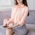 Весенняя Мода Женщина Бантом Блузки Шифон С Длинным Рукавом Розовый и Белый Женский Рубашки Повседневная Одежда S-XXL