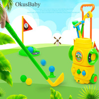 Portable Trolley Kids Toy Mini Golf Ball Set With Box Package Indoor Outdoor Educational Sport Games Pretend Play Set