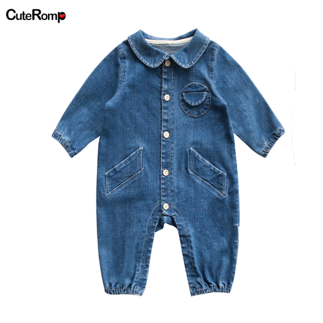 8c789bcb5 Fashion Denim rompers Baby clothes boy cowboy blue baby jumpsuit baby boy  romper newborn boy clothes Jeans toddlers costume