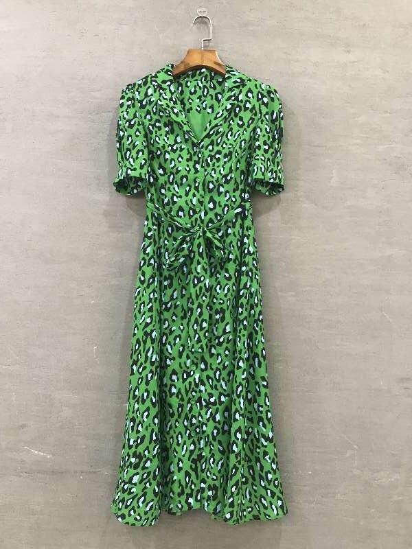 Femmes de nouvelle 2019 printemps animal imprimé léopard robe mi-mollet élégant vintage chemise à manches courtes robes vert